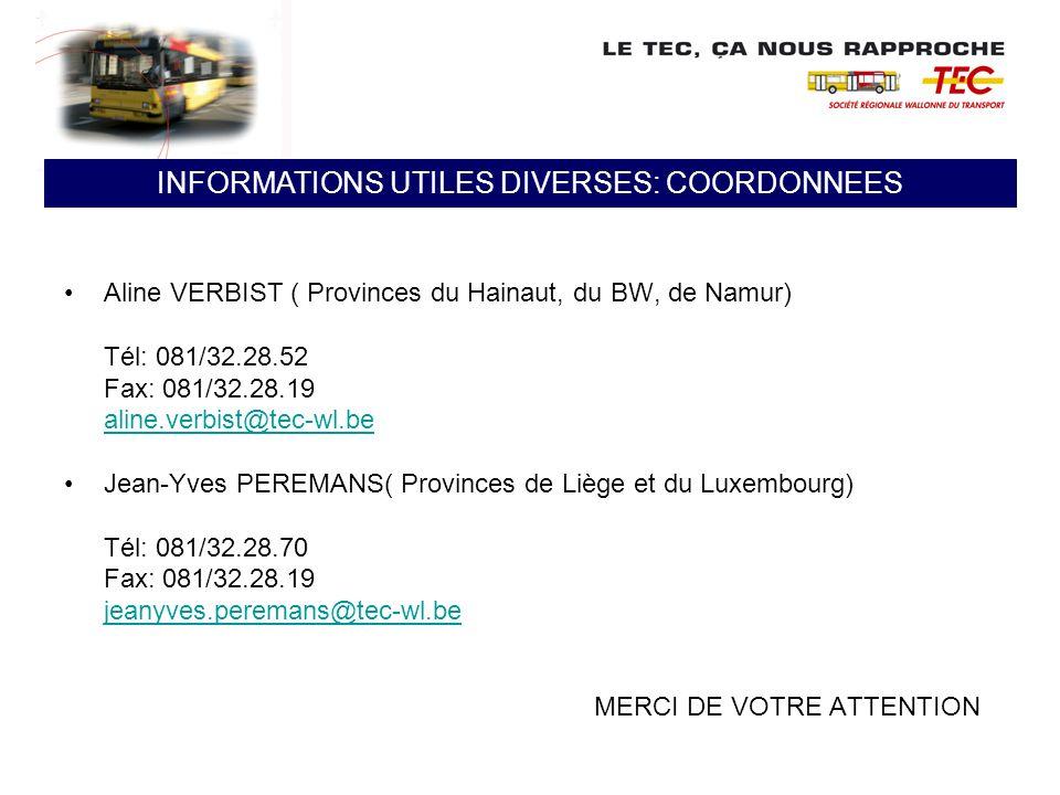 Aline VERBIST ( Provinces du Hainaut, du BW, de Namur) Tél: 081/32.28.52 Fax: 081/32.28.19 aline.verbist@tec-wl.be Jean-Yves PEREMANS( Provinces de Li
