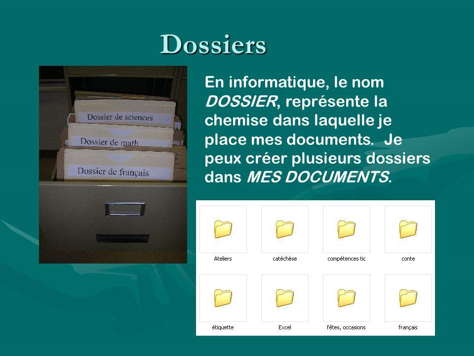 Dossiers En informatique, le nom DOSSIER, représente la chemise dans laquelle je place mes documents. Je peux créer plusieurs dossiers dans MES DOCUME