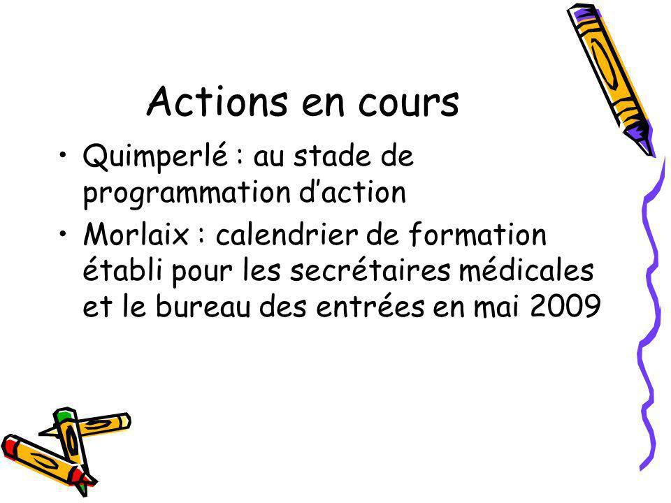 Actions en cours Quimperlé : au stade de programmation daction Morlaix : calendrier de formation établi pour les secrétaires médicales et le bureau de