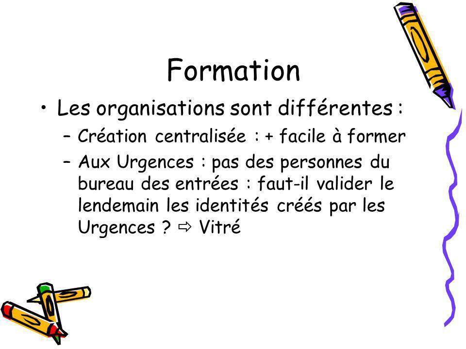 Formation Les organisations sont différentes : –Création centralisée : + facile à former –Aux Urgences : pas des personnes du bureau des entrées : faut-il valider le lendemain les identités créés par les Urgences .