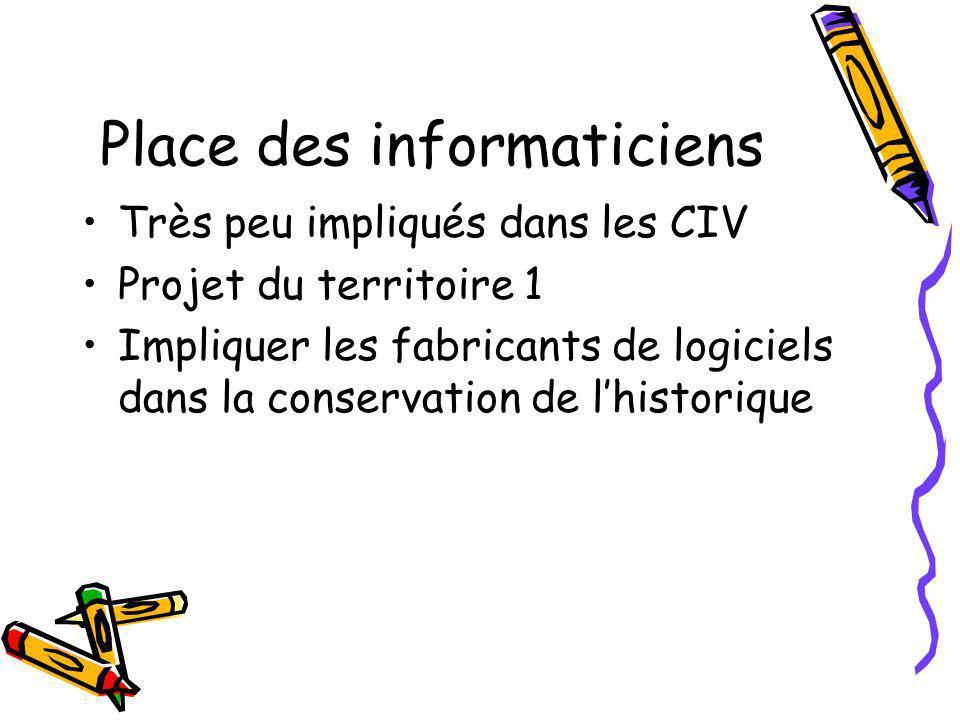 Place des informaticiens Très peu impliqués dans les CIV Projet du territoire 1 Impliquer les fabricants de logiciels dans la conservation de lhistorique