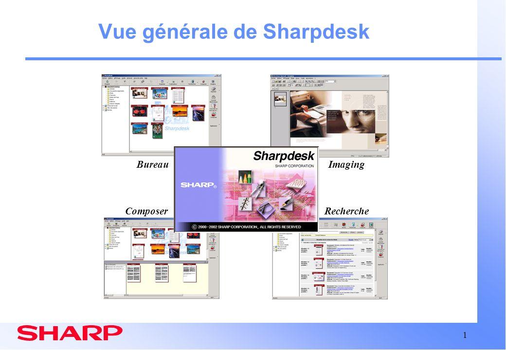 12 Sharpdesk: Composer Fenêtre Composer avec un document actif Zone de travail de composition Liste de documents source Impression Stockage Distribution Fusion de documents de types différents pour :