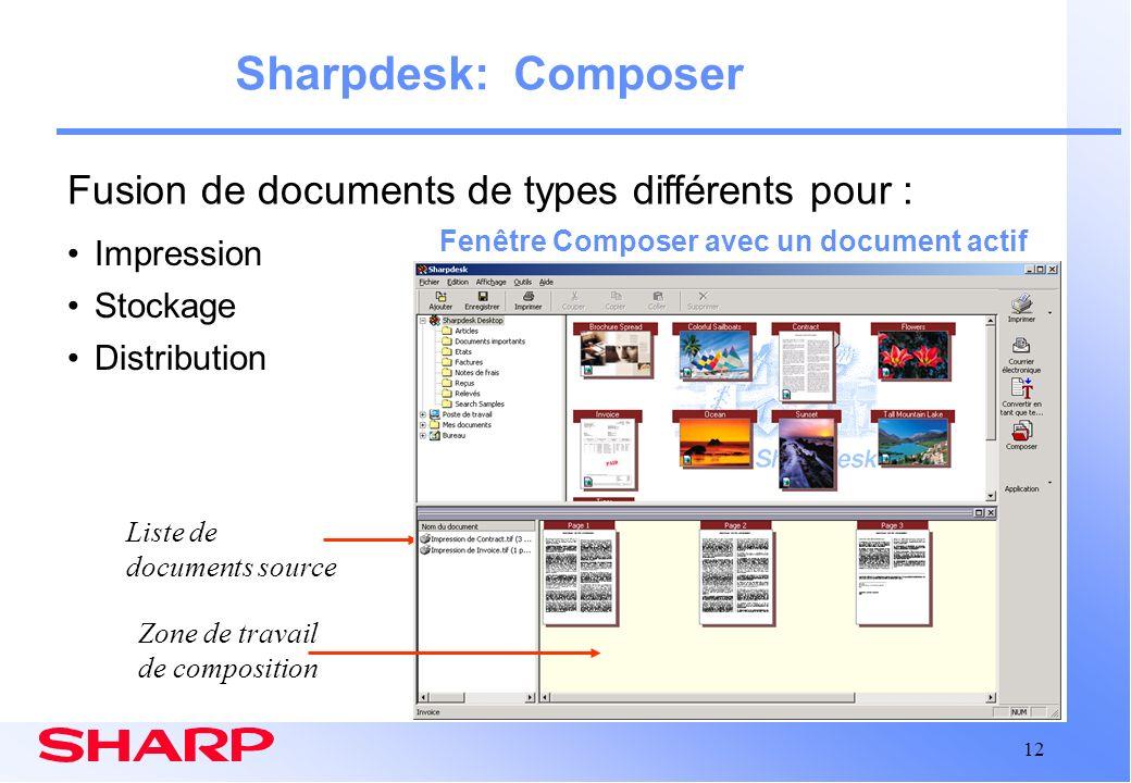 12 Sharpdesk: Composer Fenêtre Composer avec un document actif Zone de travail de composition Liste de documents source Impression Stockage Distributi