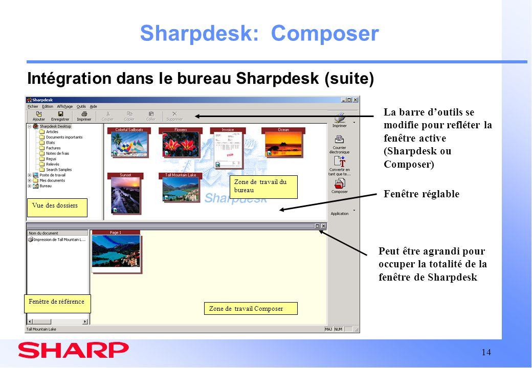 14 Zone de travail Composer Sharpdesk: Composer Intégration dans le bureau Sharpdesk (suite) Peut être agrandi pour occuper la totalité de la fenêtre