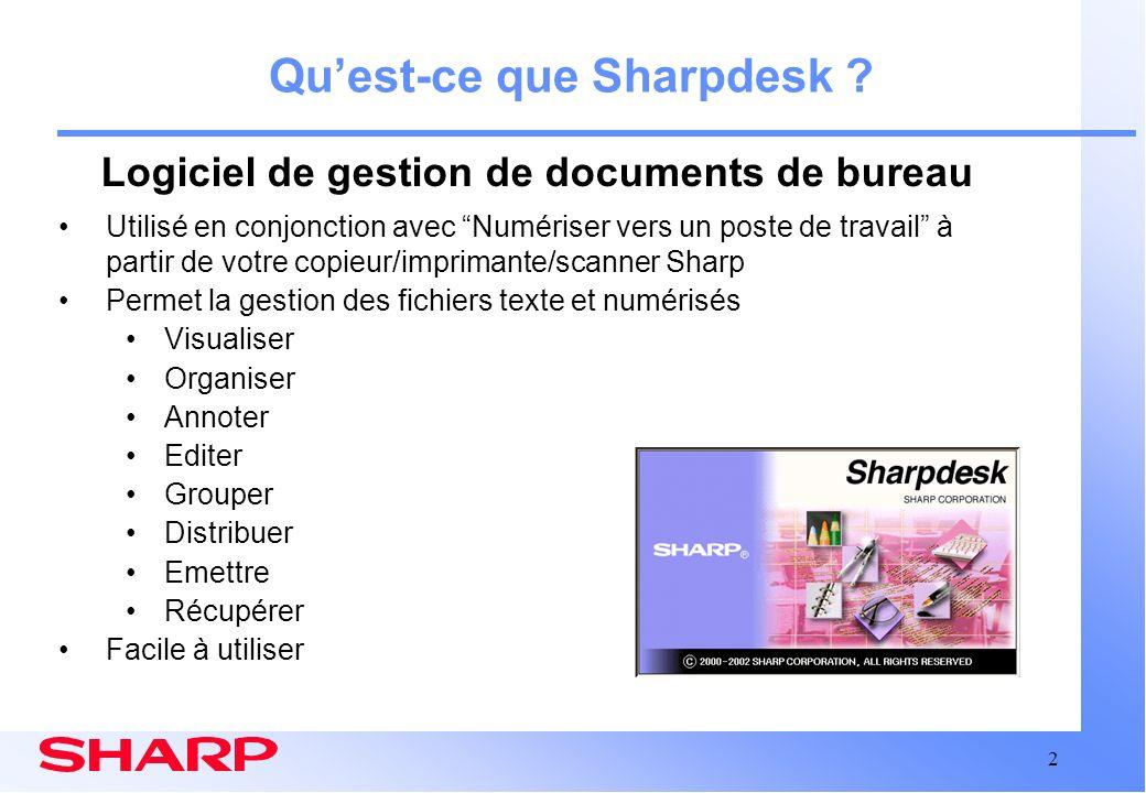 2 Quest-ce que Sharpdesk ? Utilisé en conjonction avec Numériser vers un poste de travail à partir de votre copieur/imprimante/scanner Sharp Permet la