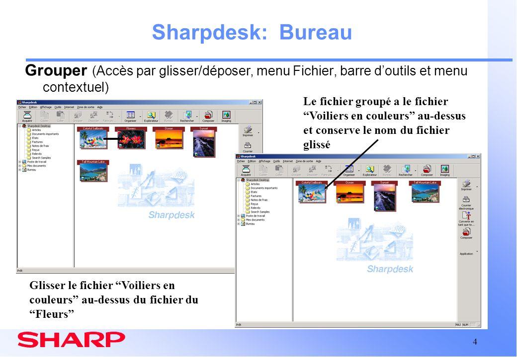 15 Zone de travail Composer Sharpdesk: Composer Intégration dans le bureau Sharpdesk (suite) Glissez et déposez des fichiers du bureau vers Composer où leur ordre pourra être modifié Nombre de page du fichier original et date de création La fenêtre de référence peut être fermée pour disposer dun espace de travail plus important dans la fenêtre Composer