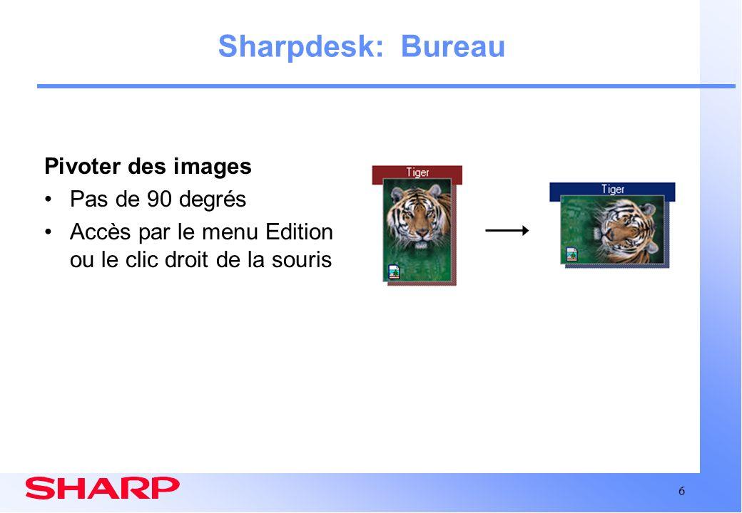 17 Sharpdesk Résumé Logiciel de gestion de documents facile à utiliser et faisant gagner du temps Pour toutes questions supplémentaires au sujet de Sharpdesk: –Utilisez laide en ligne –Vérifiez le Manuel dutilisation Sharpdesk (fichier PDF) –Contactez votre revendeur Sharp