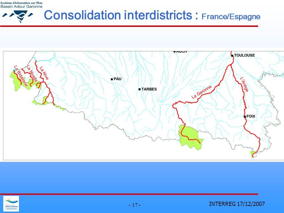INTERREG 17/12/2007 - 17 - Consolidation interdistricts : France/Espagne