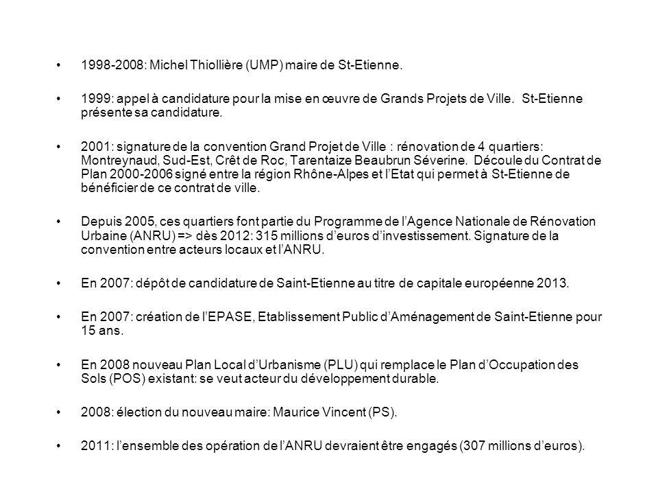 1998-2008: Michel Thiollière (UMP) maire de St-Etienne. 1999: appel à candidature pour la mise en œuvre de Grands Projets de Ville. St-Etienne présent