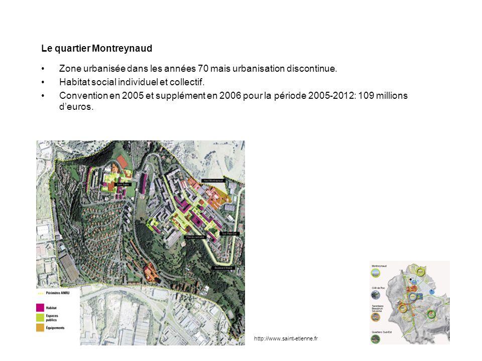 Le quartier Montreynaud Zone urbanisée dans les années 70 mais urbanisation discontinue. Habitat social individuel et collectif. Convention en 2005 et
