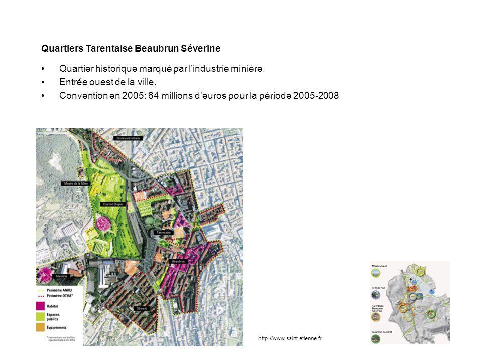 Quartiers Tarentaise Beaubrun Séverine Quartier historique marqué par lindustrie minière. Entrée ouest de la ville. Convention en 2005: 64 millions de