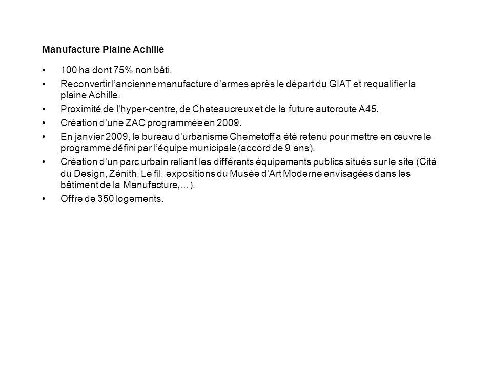 Manufacture Plaine Achille 100 ha dont 75% non bâti. Reconvertir lancienne manufacture darmes après le départ du GIAT et requalifier la plaine Achille