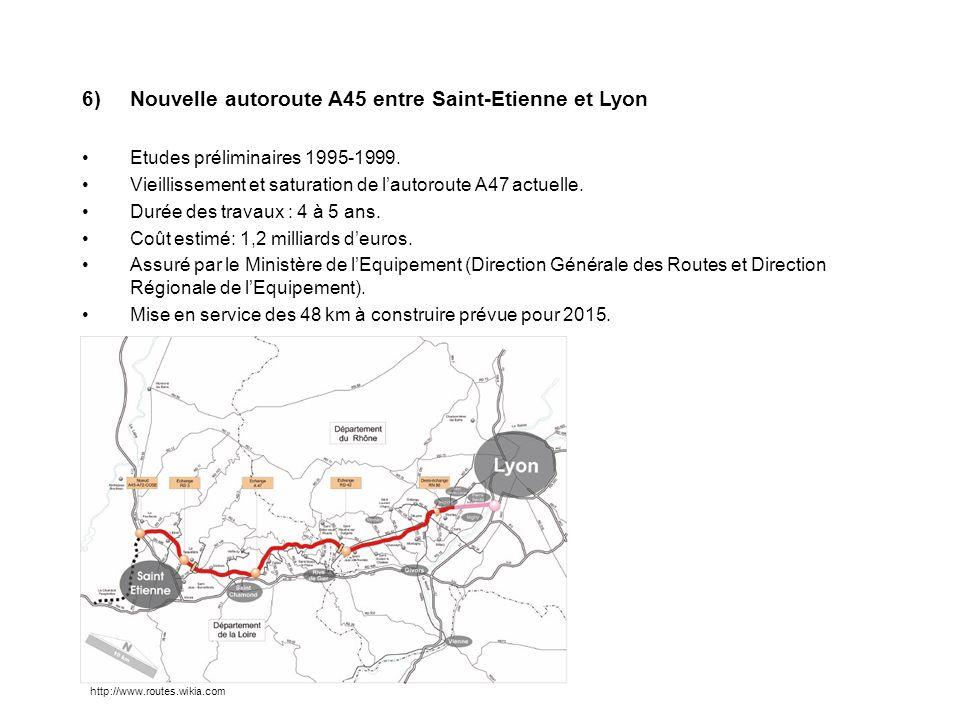6)Nouvelle autoroute A45 entre Saint-Etienne et Lyon Etudes préliminaires 1995-1999. Vieillissement et saturation de lautoroute A47 actuelle. Durée de