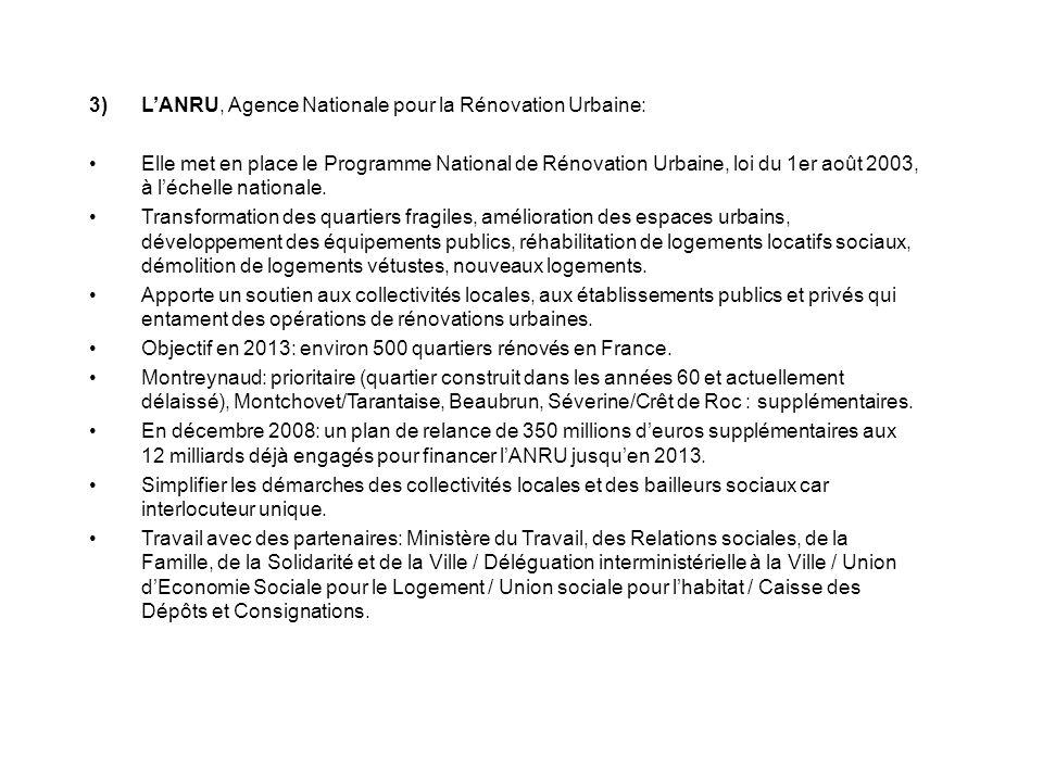 3)LANRU, Agence Nationale pour la Rénovation Urbaine: Elle met en place le Programme National de Rénovation Urbaine, loi du 1er août 2003, à léchelle