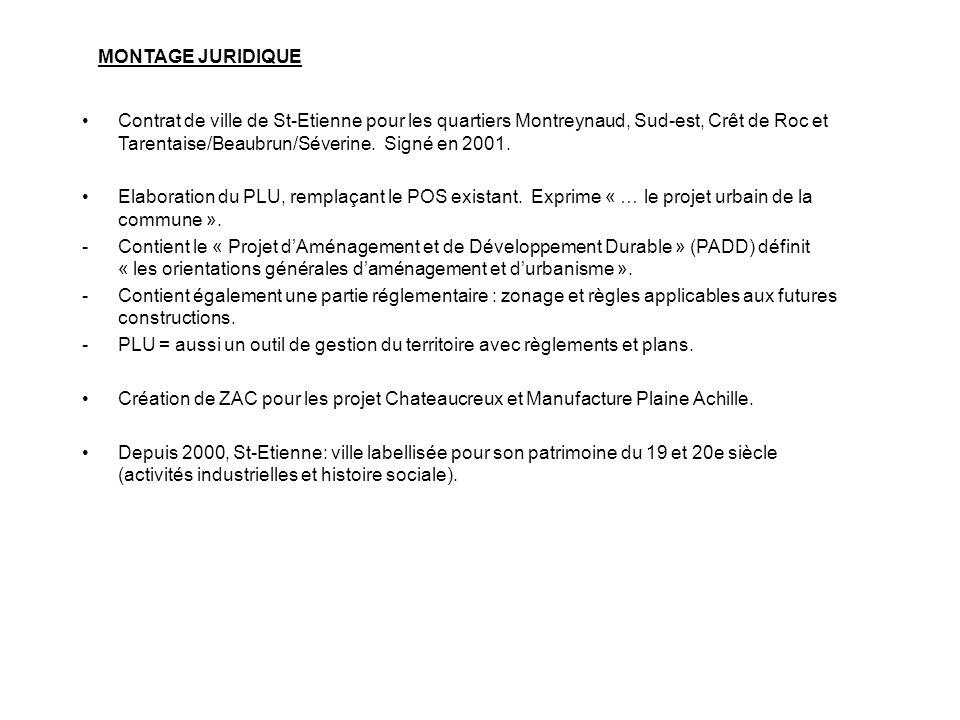 Contrat de ville de St-Etienne pour les quartiers Montreynaud, Sud-est, Crêt de Roc et Tarentaise/Beaubrun/Séverine. Signé en 2001. Elaboration du PLU