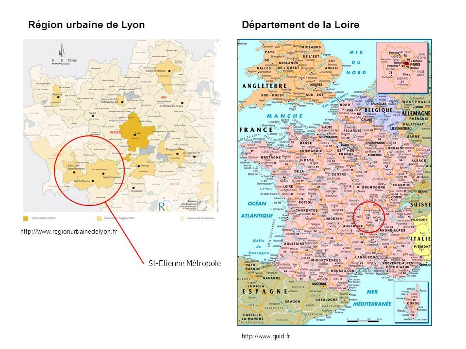 En 1995 : création dune structure intercommunale : Saint-Etienne Métropole (43 communes).