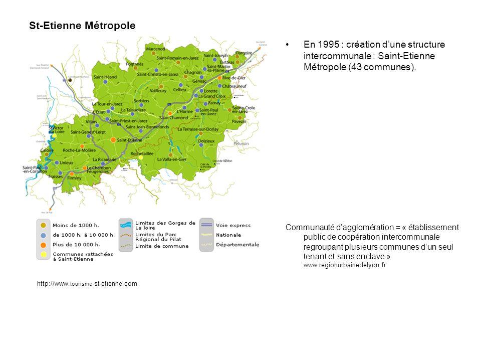 En 1995 : création dune structure intercommunale : Saint-Etienne Métropole (43 communes). Communauté dagglomération = « établissement public de coopér