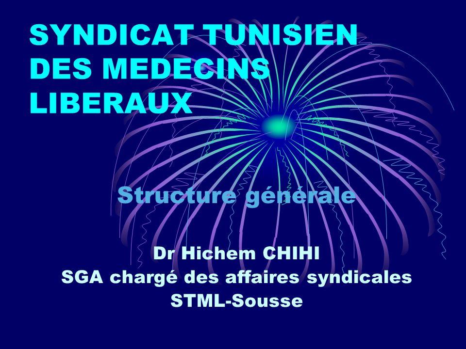 SYNDICAT TUNISIEN DES MEDECINS LIBERAUX Structure générale Dr Hichem CHIHI SGA chargé des affaires syndicales STML-Sousse