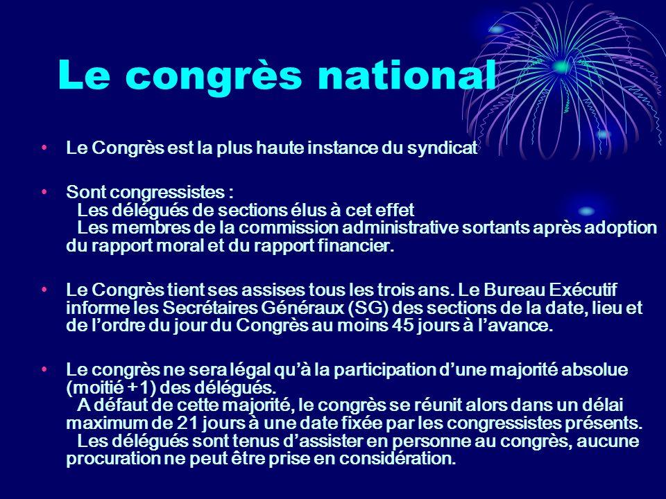 Le congrès peut se réunir en session extraordinaire soit sur convocation de la Commission Administrative (CA) soit à la demande des 2/3 des adhérents ayant réglé leur cotisation des deux dernières années.