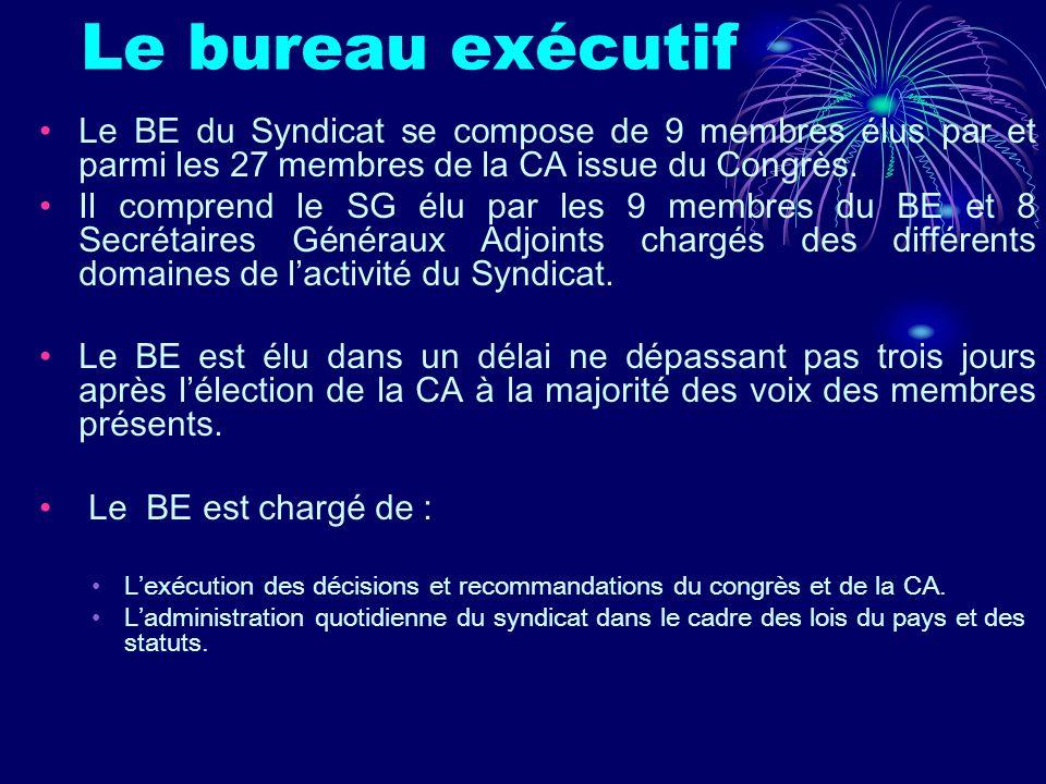 Le bureau exécutif Le BE du Syndicat se compose de 9 membres élus par et parmi les 27 membres de la CA issue du Congrès. Il comprend le SG élu par les