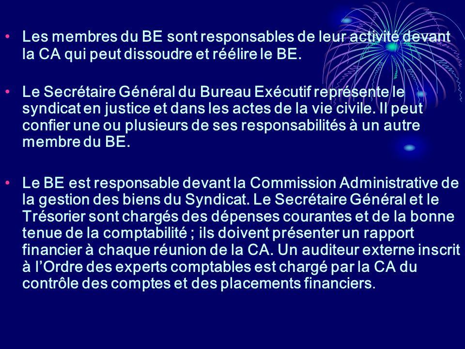 Les membres du BE sont responsables de leur activité devant la CA qui peut dissoudre et réélire le BE. Le Secrétaire Général du Bureau Exécutif représ