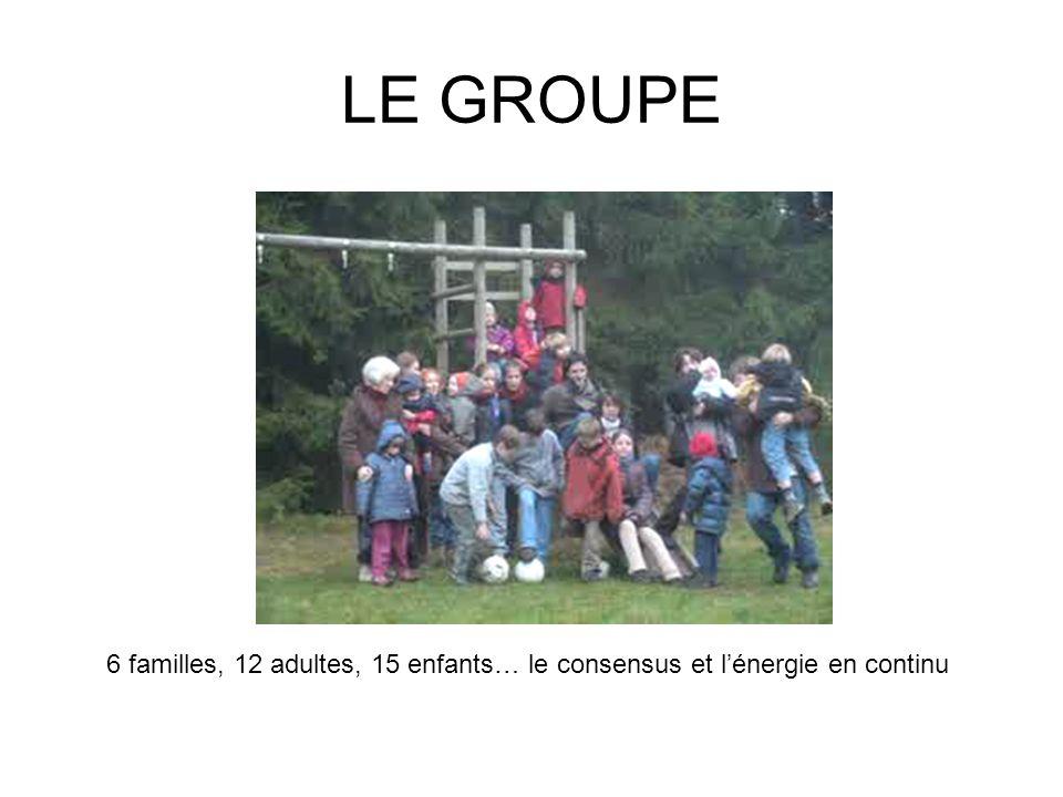 LE GROUPE 6 familles, 12 adultes, 15 enfants… le consensus et lénergie en continu