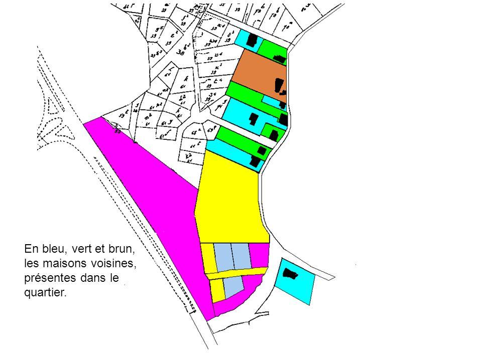 En bleu, vert et brun, les maisons voisines, présentes dans le quartier.