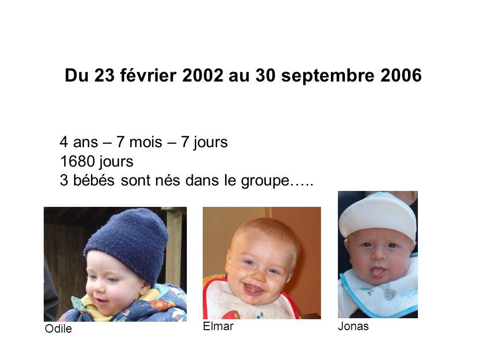 Du 23 février 2002 au 30 septembre 2006 4 ans – 7 mois – 7 jours 1680 jours 3 bébés sont nés dans le groupe…..