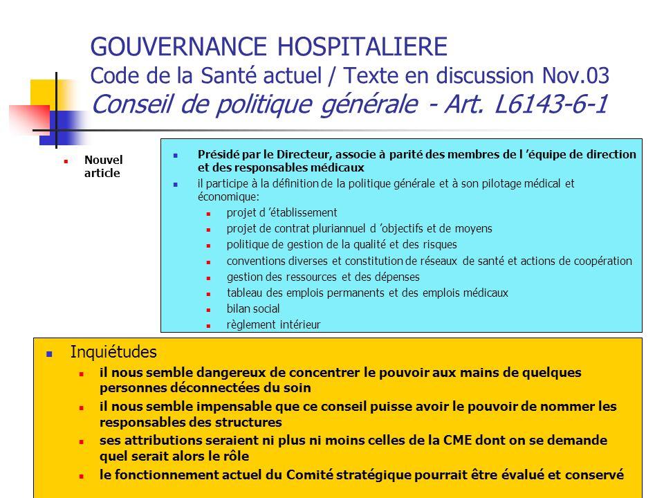 GOUVERNANCE HOSPITALIERE Code de la Santé actuel / Texte en discussion Nov.03 Conseil de politique générale - Art. L6143-6-1 Nouvel article Présidé pa