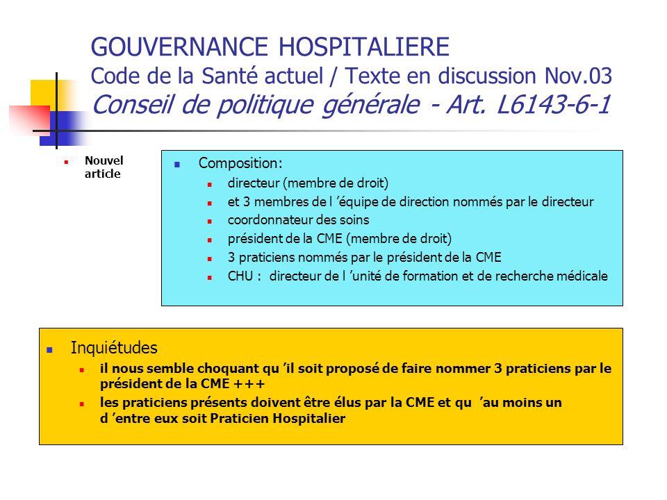 GOUVERNANCE HOSPITALIERE Code de la Santé actuel / Texte en discussion Nov.03 Conseil de politique générale - Art. L6143-6-1 Nouvel article Compositio