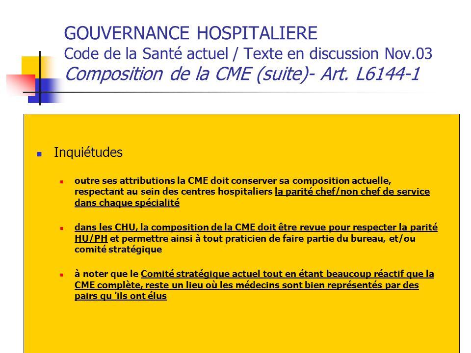 GOUVERNANCE HOSPITALIERE Code de la Santé actuel / Texte en discussion Nov.03 Composition de la CME (suite)- Art. L6144-1 Inquiétudes outre ses attrib