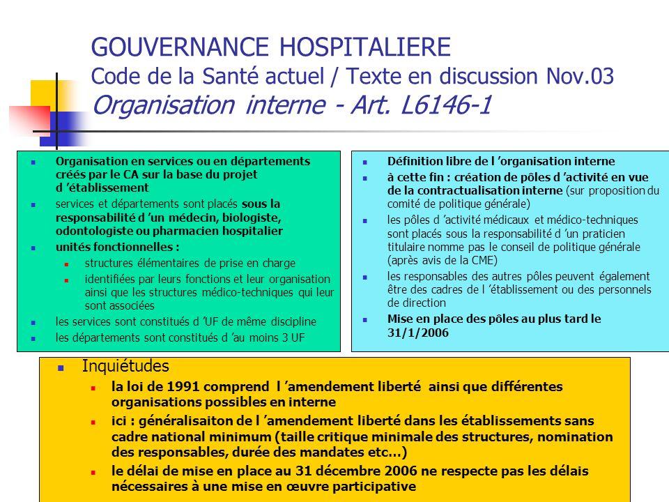 GOUVERNANCE HOSPITALIERE Code de la Santé actuel / Texte en discussion Nov.03 Organisation interne - Art. L6146-1 Organisation en services ou en dépar