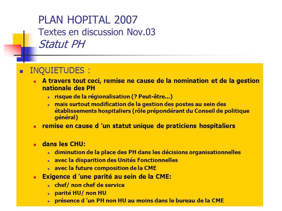 PLAN HOPITAL 2007 Textes en discussion Nov.03 Statut PH INQUIETUDES : A travers tout ceci, remise ne cause de la nomination et de la gestion nationale