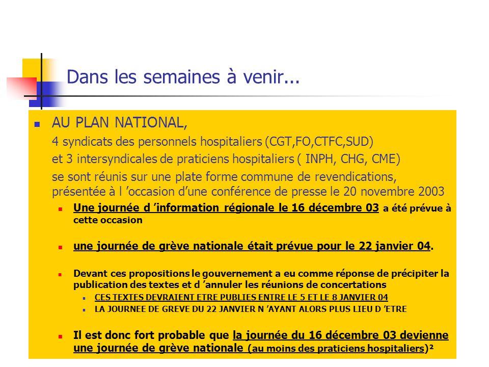 Dans les semaines à venir... AU PLAN NATIONAL, 4 syndicats des personnels hospitaliers (CGT,FO,CTFC,SUD) et 3 intersyndicales de praticiens hospitalie