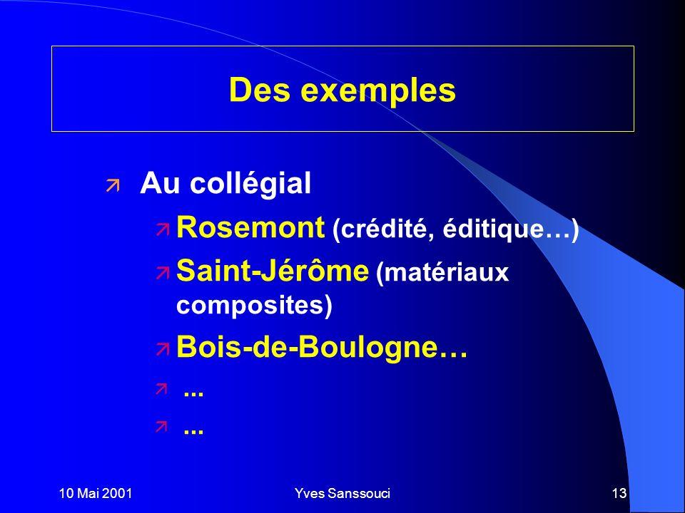10 Mai 2001Yves Sanssouci13 Des exemples ä Au collégial ä Rosemont (crédité, éditique…) ä Saint-Jérôme (matériaux composites) ä Bois-de-Boulogne… ä...