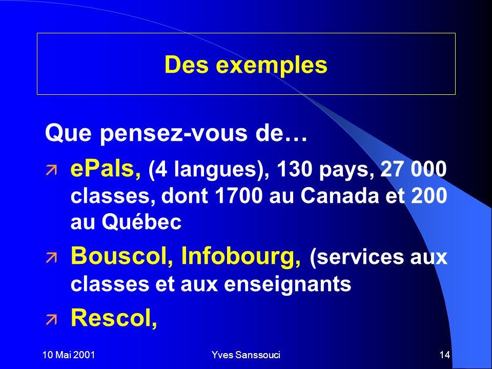 10 Mai 2001Yves Sanssouci14 Des exemples Que pensez-vous de… ä ePals, (4 langues), 130 pays, 27 000 classes, dont 1700 au Canada et 200 au Québec ä Bouscol, Infobourg, (services aux classes et aux enseignants ä Rescol,