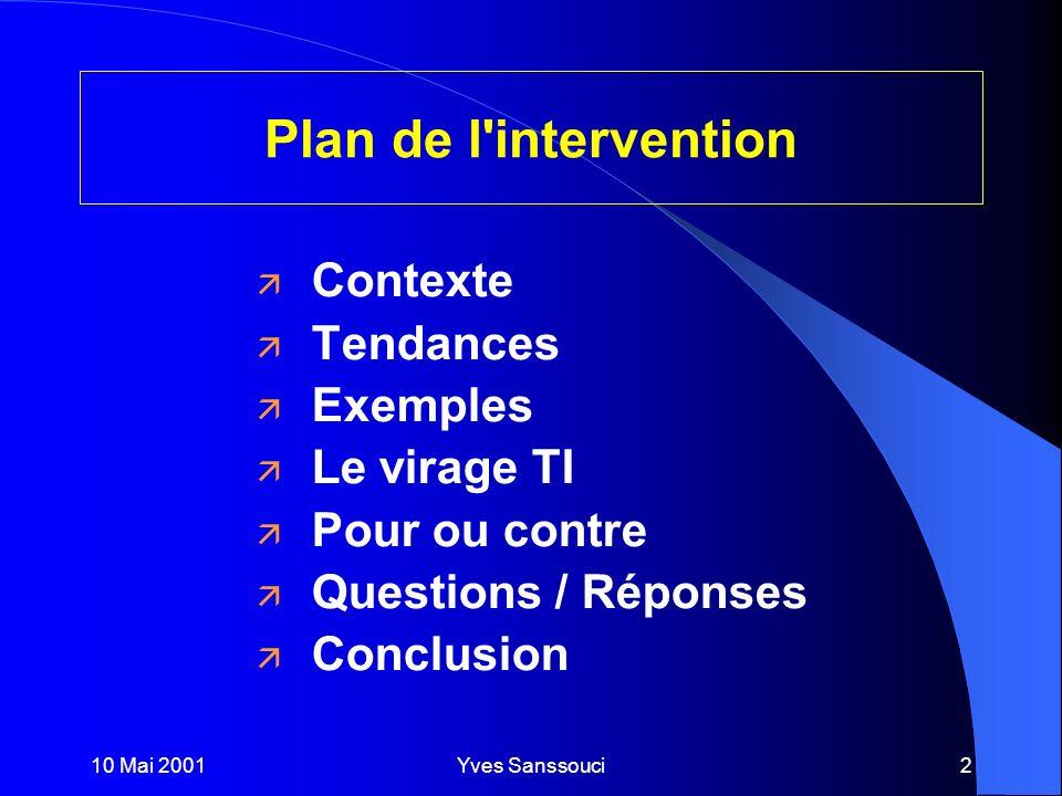 10 Mai 2001Yves Sanssouci2 ä Contexte ä Tendances ä Exemples ä Le virage TI ä Pour ou contre ä Questions / Réponses ä Conclusion Plan de l intervention