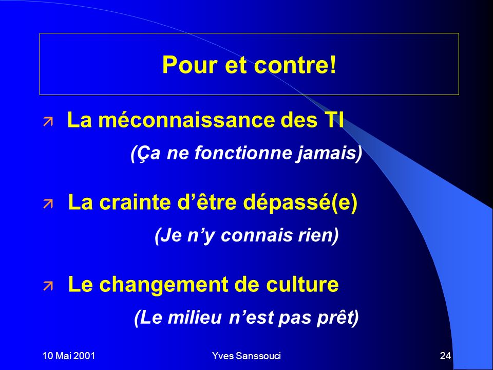 10 Mai 2001Yves Sanssouci24 Pour et contre.