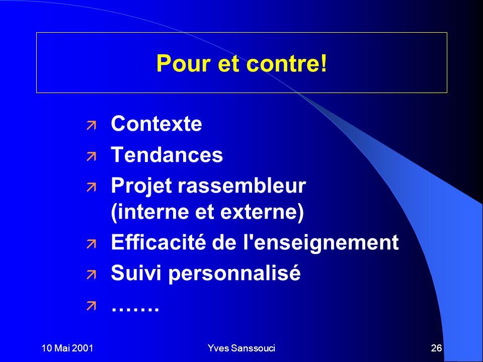 10 Mai 2001Yves Sanssouci26 Pour et contre.