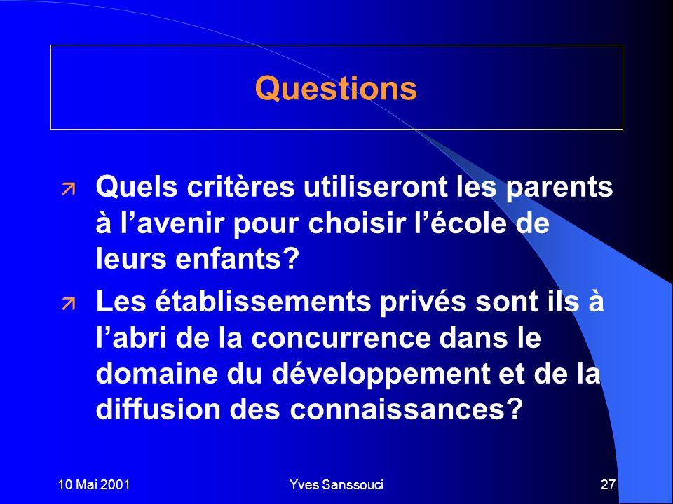 10 Mai 2001Yves Sanssouci27 Questions ä Quels critères utiliseront les parents à lavenir pour choisir lécole de leurs enfants.