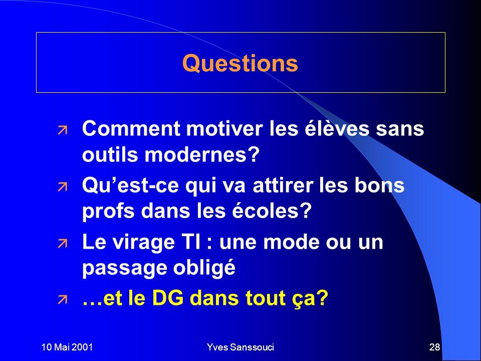 10 Mai 2001Yves Sanssouci28 Questions ä Comment motiver les élèves sans outils modernes.