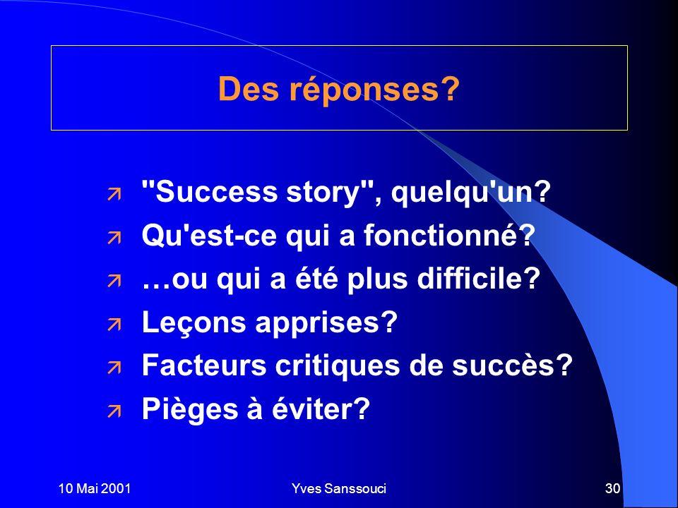10 Mai 2001Yves Sanssouci30 Des réponses. ä Success story , quelqu un.