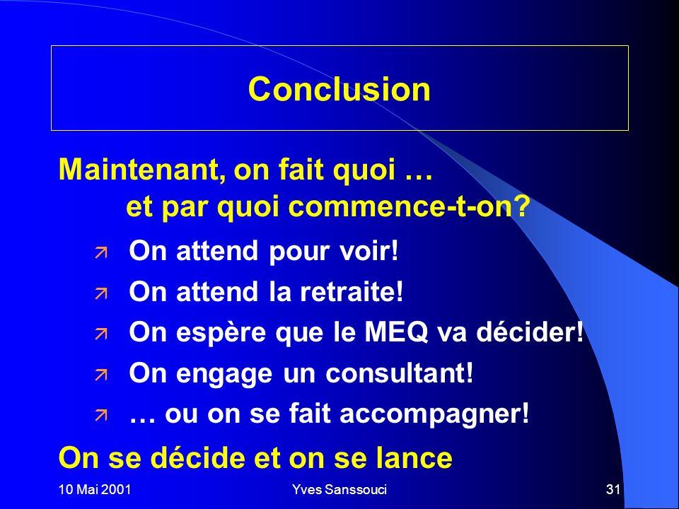 10 Mai 2001Yves Sanssouci31 Conclusion ä On attend pour voir.