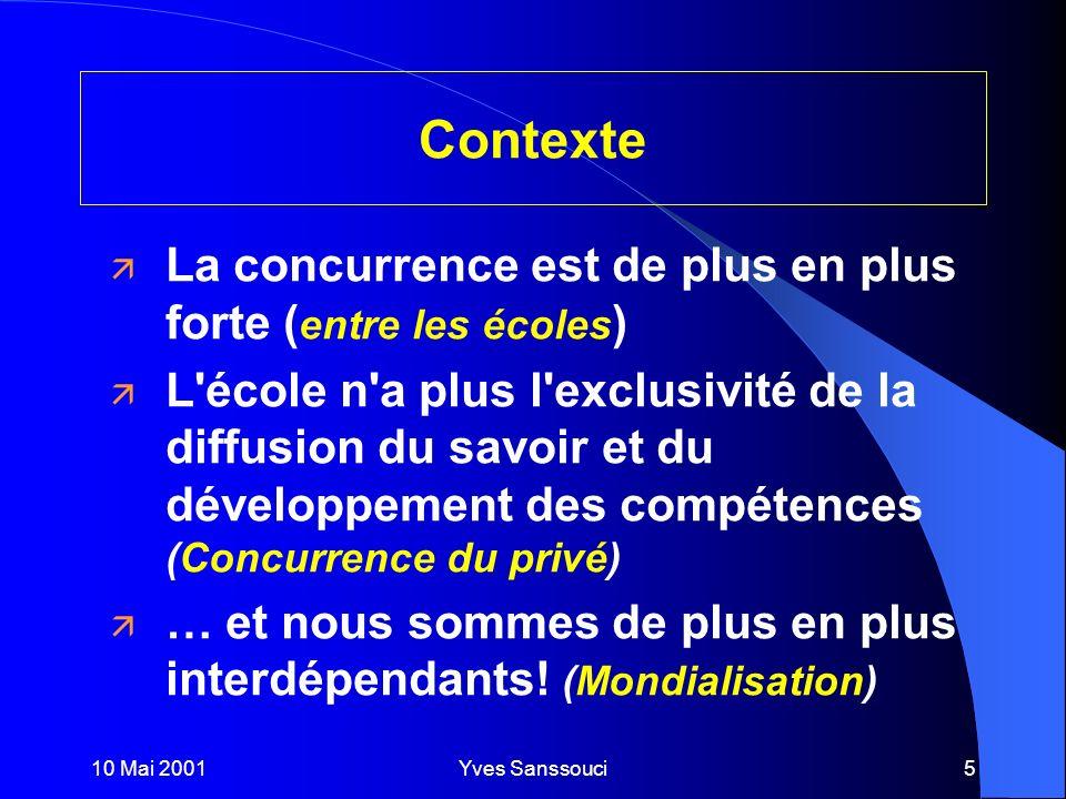 10 Mai 2001Yves Sanssouci5 ä La concurrence est de plus en plus forte ( entre les écoles ) ä L école n a plus l exclusivité de la diffusion du savoir et du développement des compétences (Concurrence du privé) ä … et nous sommes de plus en plus interdépendants.