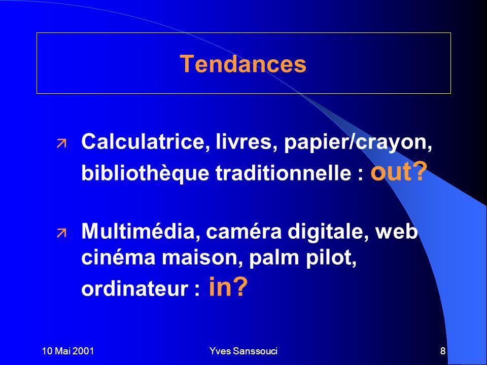 10 Mai 2001Yves Sanssouci8 Tendances ä Calculatrice, livres, papier/crayon, bibliothèque traditionnelle : out.