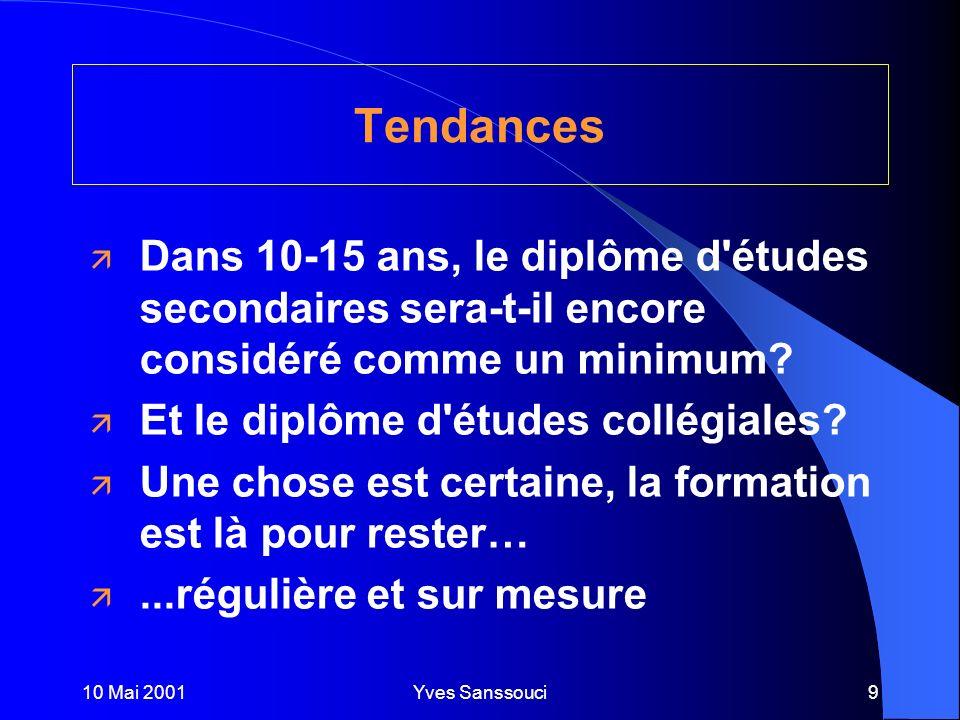 10 Mai 2001Yves Sanssouci9 Tendances ä Dans 10-15 ans, le diplôme d études secondaires sera-t-il encore considéré comme un minimum.