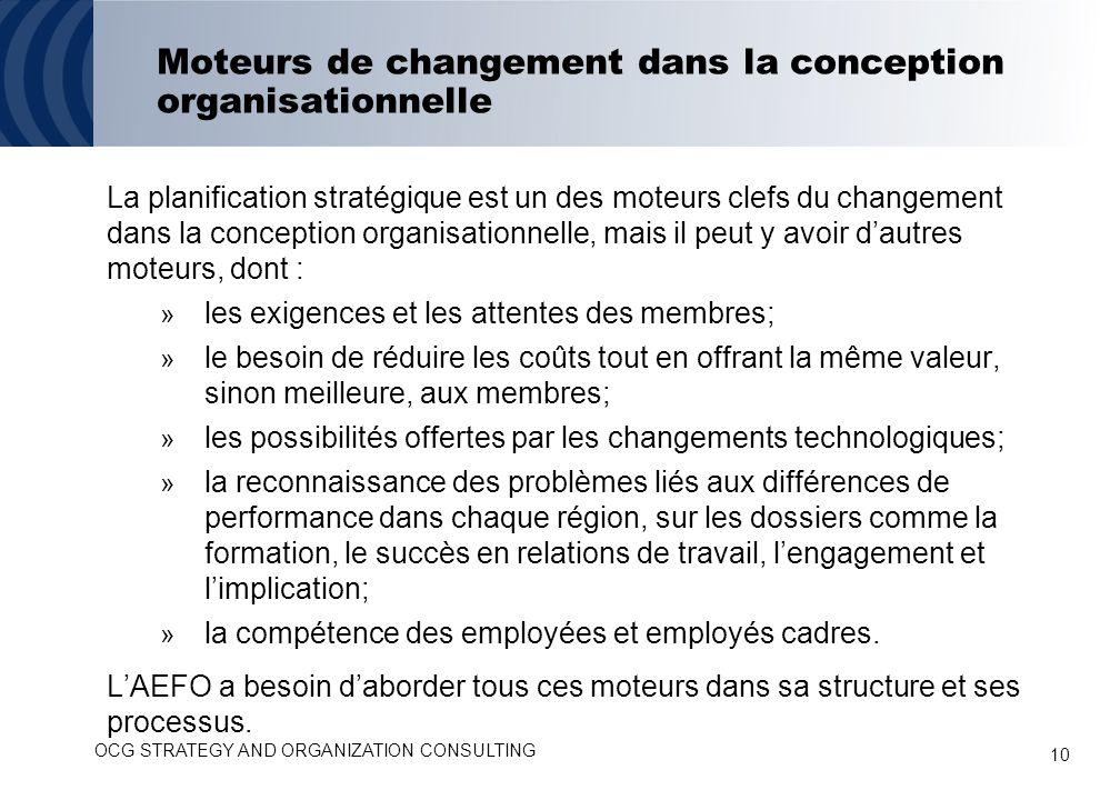 10 Moteurs de changement dans la conception organisationnelle La planification stratégique est un des moteurs clefs du changement dans la conception o