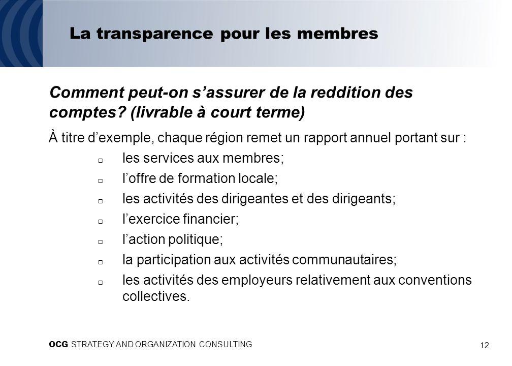12 La transparence pour les membres Comment peut-on sassurer de la reddition des comptes? (livrable à court terme) À titre dexemple, chaque région rem