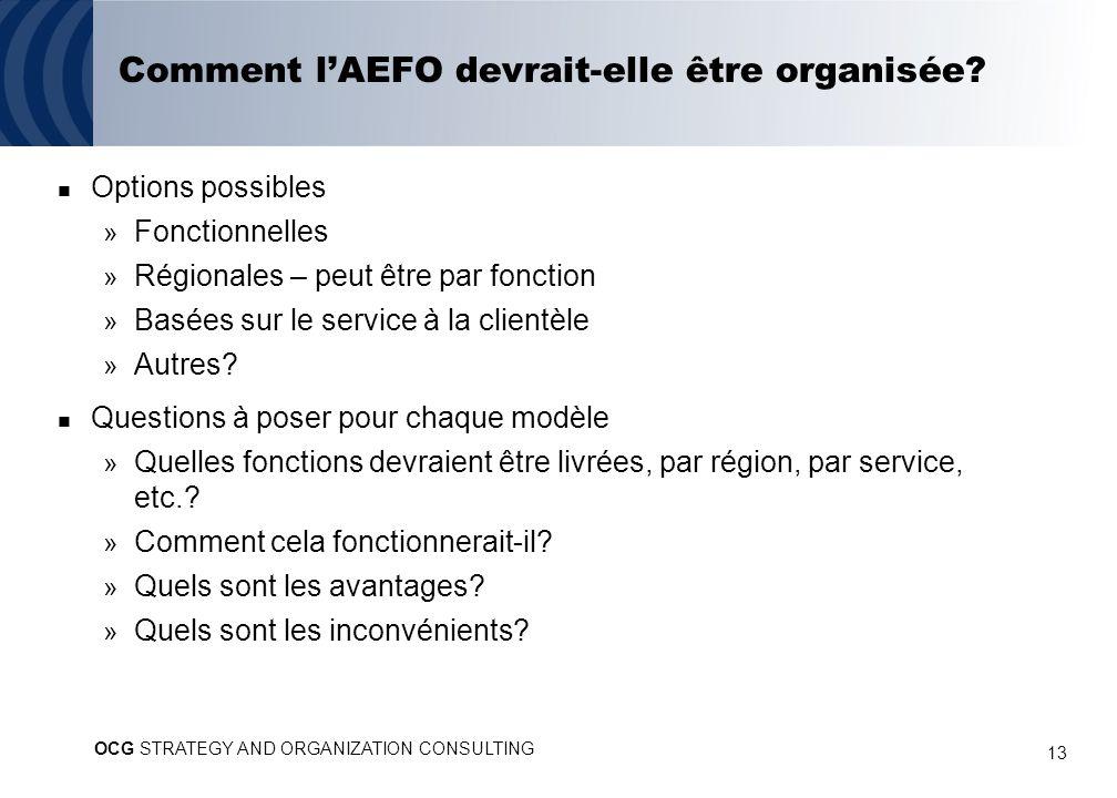13 Comment lAEFO devrait-elle être organisée? Options possibles » Fonctionnelles » Régionales – peut être par fonction » Basées sur le service à la cl