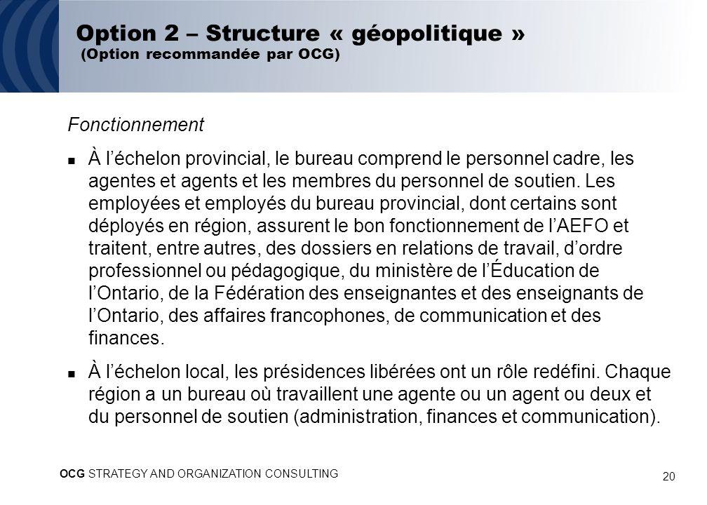 20 Option 2 – Structure « géopolitique » (Option recommandée par OCG) Fonctionnement À léchelon provincial, le bureau comprend le personnel cadre, les agentes et agents et les membres du personnel de soutien.